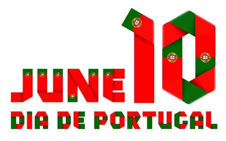 Congratulatory design for June 10, National Day of Portugal. Text made of bended ribbons with Portuguese flag colors. Portuguese inscription: Portugal day. 3d illustration isolated on white background.