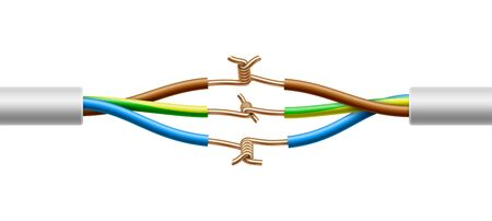 Open connection of two electric multicore cables structure. Vector realistic illustration isolated on white background.
