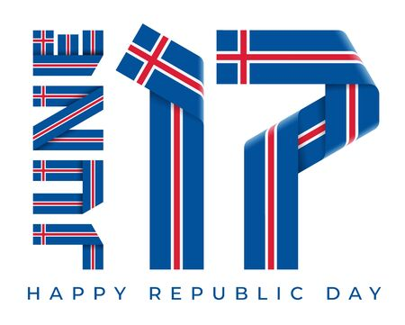 Congratulatory design for June 17, Republic Day of Iceland. Text made of bended ribbons with Icelandic flag elements. 3d illustration isolated on white background. Фото со стока