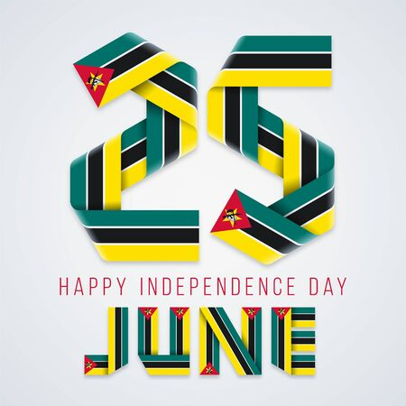 Congratulatory design for June 25, Independence Day of Mozambique. Text made of bended ribbons with Mozambican flag elements. Vector illustration. Иллюстрация