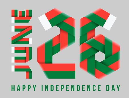 Congratulatory design for June 26, Madagascar Independence Day. Text made of bended ribbons with Malagasy flag colors. 3d illustration isolated on gray background.