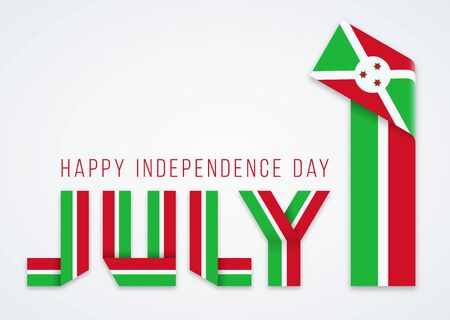 Congratulatory design for July 1, Independence Day of Burundi. Text made of bended ribbons with burundian flag elements. Vector illustration. Иллюстрация