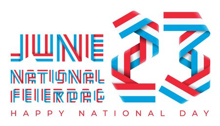 Congratulatory design for June 23, Luxembourg National Day. Text made of bended ribbons with Luxembourgish flag colors. Luxembourgish inscription: National holiday. 3d isolated illustration.