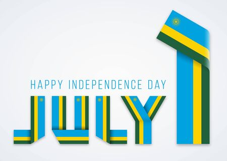 Congratulatory design for July 1, Independence Day of Rwanda. Text made of bended ribbons with rwandees flag elements. Vector illustration.