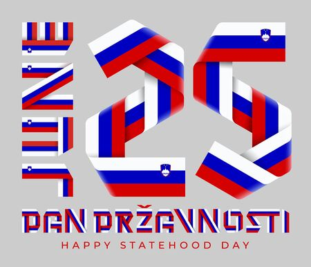 Congratulatory design for June 25, Slovenia Statehood Day. Text made of bended ribbons with Slovenian flag elements. Slovenian inscription: Statehood Day. 3d illustration isolated on gray background. Фото со стока