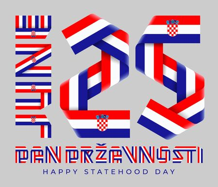 Congratulatory design for June 25, Croatia Statehood Day. Text made of bended ribbons with Croatian flag elements. Croatian inscription: Statehood Day. 3d illustration isolated on gray background.