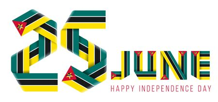 Congratulatory design for June 25, Independence Day of Mozambique. Text made of bended ribbons with Mozambican flag elements. 3d isolated illustration.