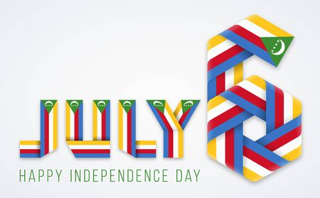 Congratulatory design for July 6, Comoros Independence Day. Text made of bended ribbons with Comorian flag colors. Vector illustration. Ilustrace
