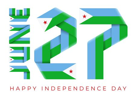 Congratulatory design for June 27, Independence Day of Djibouti. Text made of bended ribbons with Djiboutian flag elements. 3d isolated illustration.