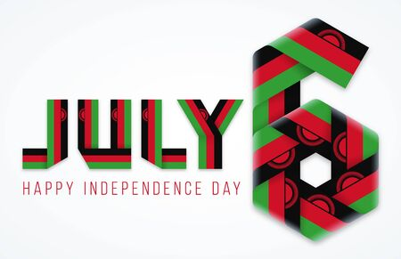 Congratulatory design for July 6, Independence Day of Malawi. Text made of bended ribbons with malawian flag elements. Vector illustration.