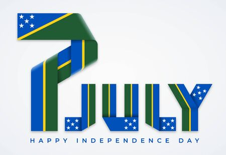 Congratulatory design for July 7, Independence Day of Solomon Islands. Text made of bended ribbons with flag of Solomon Islands elements. Vector illustration. Ilustração