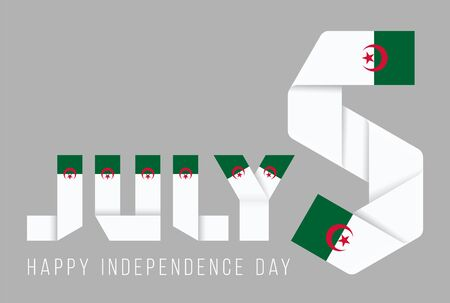Congratulatory design for July 5, Algeria Independence Day. Text made of bended ribbons with Algerian flag elements. 3d illustration isolated on gray background. Reklamní fotografie
