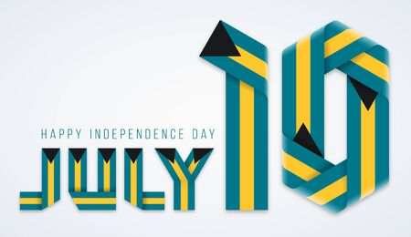 Congratulatory design for July 10, The Bahamas Independence Day. Text made of bended ribbons with bahamian flag colors. Vector illustration.