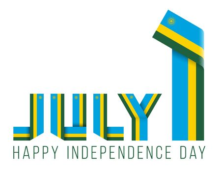 Congratulatory design for July 1, Independence Day of Rwanda. Text made of bended ribbons with rwandees flag elements. 3d illustration isolated on white background.
