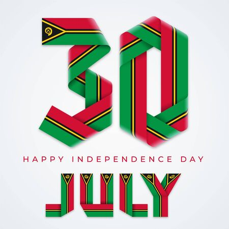 Congratulatory design for July 30, Independence Day of Vanuatu. Text made of blended ribbons with vanuatuan flag elements. illustration.