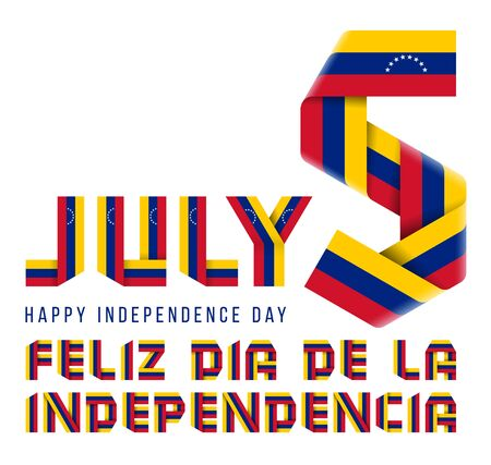 Congratulatory design for July 5, Venezuela Independence Day. Text made of folded ribbons with Venezuelan flag elements. Spanish inscription: Happy Independence day. 3d isolated illustration Reklamní fotografie