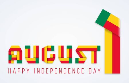 Congratulatory design for August 1, Independence Day of Benin. Text made of bended ribbons with flag of Benin elements. Vector illustration.