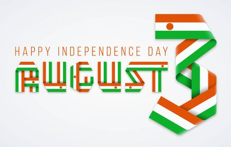 Congratulatory design for August 3, Independence Day of the Niger. Text made of bended ribbons with nigerian flag elements. Vector illustration. Ilustrace