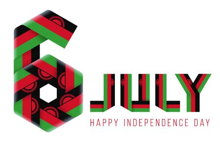 Congratulatory design for July 6, Independence Day of Malawi. Text made of bended ribbons with malawian flag elements. 3d illustration isolated on white background.