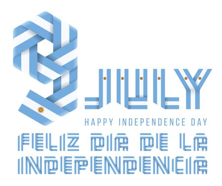 Congratulatory design for July 9, Argentina Independence Day. Text made of bended ribbons with Argentinean flag elements. Spanish inscription: Happy Independence day. 3d isolated illustration Reklamní fotografie