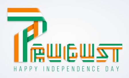 Congratulatory design for August 7, Independence Day of Ivory Coast. Text made of bended ribbons with flag of Cote d'Ivoire colors. Vector illustration.