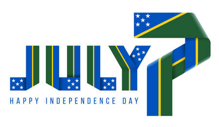 Congratulatory design for July 7, Independence Day of Solomon Islands. Text made of bended ribbons with flag of Solomon Islands elements. 3d illustration isolated on white background.