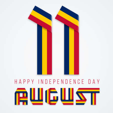 Congratulatory design for August 11, Independence Day of Chad. Text made of bended ribbons with flag of Chad colors. Vector illustration. Ilustrace