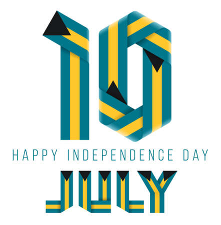 Congratulatory design for July 10, The Bahamas Independence Day. Text made of bended ribbons with bahamian flag colors. 3d illustration isolated on white background. Reklamní fotografie