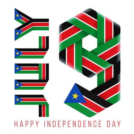 Congratulatory design for July 9, Independence Day of South Sudan. Text made of bended ribbons with south sudanese flag elements. 3d illustration isolated on white background.