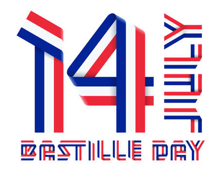 Congratulatory design for July 14, France National Day - Bastille day. Text made of bended ribbons with French flag colors. 3d illustration isolated on white background.
