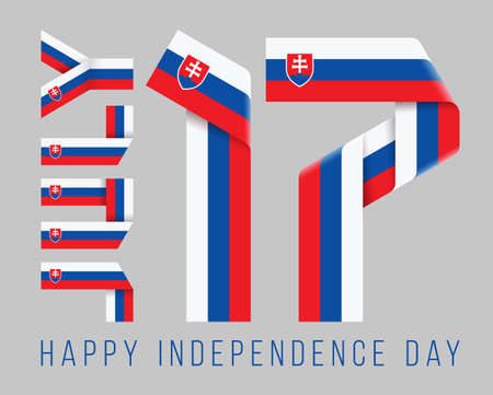 Congratulatory design for July 17, Slovakia Independence Day. Text made of bended ribbons with Slovak flag elements. 3d illustration isolated on gray background.