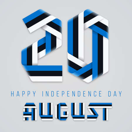 Congratulatory design for August 20, Independence Day of Estonia. Text made of bended ribbons with Estonian flag elements. Vector illustration.