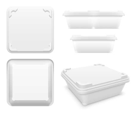 Vector square plastic container with rounded tabs and blanks as motionless locking system for butter, yoghurt or melted cheese. Set of top, bottom, front, side and perspective views. Packaging mockup illustration.