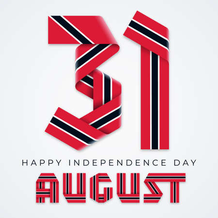 Congratulatory design for August 31, Trinidad and Tobago Independence Day. Text made of bended ribbons with flag of Trinidad and Tobago colors. Vector illustration.