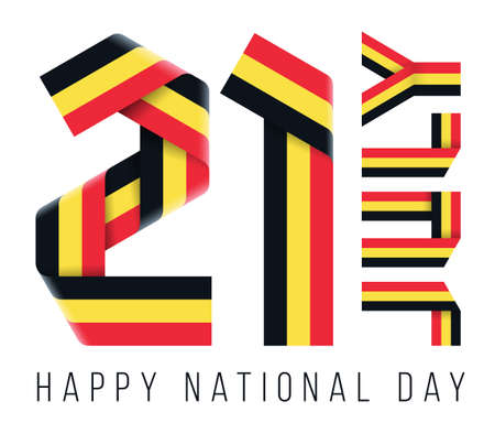 Congratulatory design for July 21, Belgium National Day. Text made of bended ribbons with Belgian flag colors. 3d illustration isolated on white background.