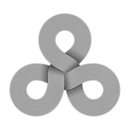Triquetra knot sign made of three connected rings composed of metal wires. Modern stylization of celtic trinity symbol. Vector illustration isolated on white background.