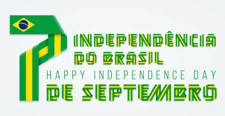Congratulatory design for September 7, Brazil Independence Day. Text made of bended ribbons with Brazilian flag elements. Portuguese title: 7 of September, Independence of Brazil. Vector illustration