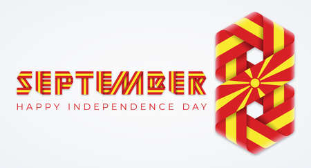Congratulatory design for September 8, North Macedonia Independence Day. Text made of bended ribbons with Macedonian flag elements. Vector illustration. Ilustração
