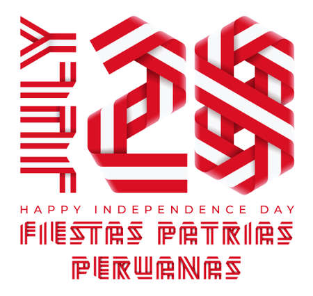 Congratulatory design for July 28, Peru Independence Day. Text made of bended ribbons with Peruvian flag colors. Spanish inscription: Peruvian National Holidays. 3d illustration isolated on white background. Reklamní fotografie