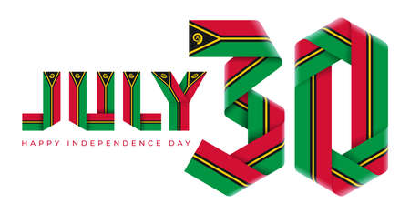 Congratulatory design for July 30, Independence Day of Vanuatu. Text made of bended ribbons with vanuatuan flag elements. 3d illustration isolated on white background.