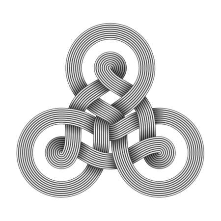 Triquetra knot sign made of two interwoven bundles of metal wires. Modern stylization of celtic trinity symbol. Vector illustration isolated on white background.
