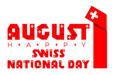 Congratulatory design for August 1, Swiss National Day. Text made of bended ribbons with Switzerland flag elements. 3d illustration isolated on white background. Stock Photo