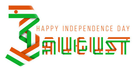 Congratulatory design for August 3, Independence Day of the Niger. Text made of bended ribbons with nigerian flag elements. 3d illustration isolated on white background.