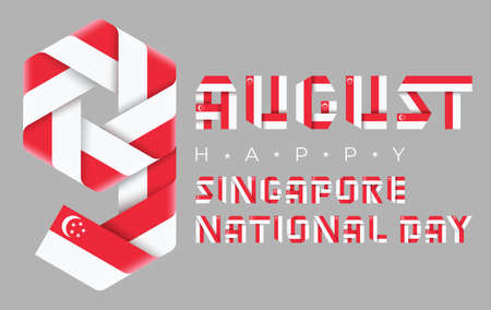 Congratulatory design for August 9, Singapore National Day. Text made of bended ribbons with Singaporean flag elements. 3d illustration isolated on gray background. Stock Photo