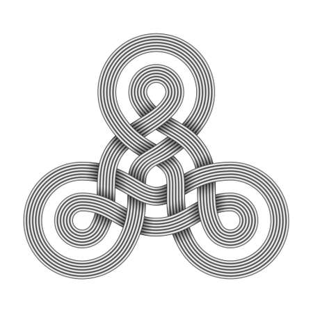 Triquetra knot sign made of two intertwined bundles of metal wires. Modern stylization of celtic trinity symbol. Vector illustration isolated on white background.