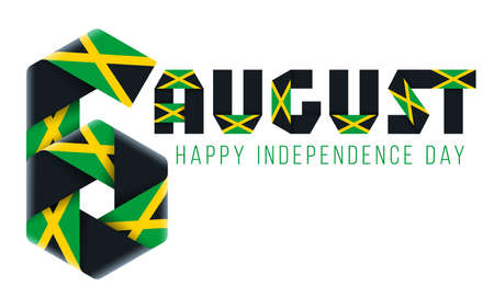 Congratulatory design for August 6, Jamaica Independence Day. Text made of bended ribbons with Jamaican flag colors. 3d illustration isolated on white background.