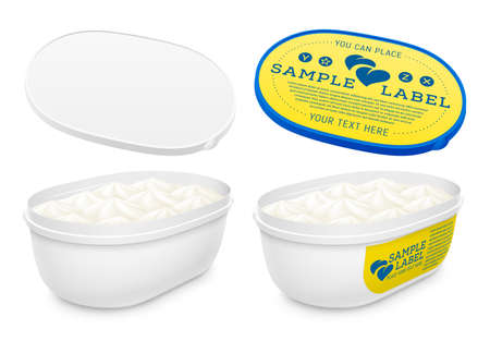 Vector labeled plastic open oval container with ice cream, yogurt or pudding within. Mockup isolated on white background. Packaging template illustration. Illustration