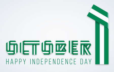 Congratulatory design for October 1, Independence Day Nigeria. Text made of bended ribbons with Nigerian flag colors. Vector illustration.