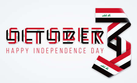 Congratulatory design for October 3, Iraq Independence Day. Text made of bended ribbons with Iraqi flag colors. Vector illustration.