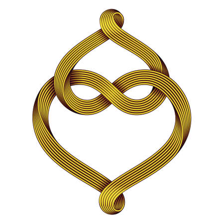 Two hearts intertwine forming an infinity sign made of golden mobius stripe. Symbol of eternal love. Vector illustration isolated on a white background.